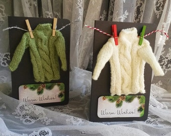 Warm Wishes Card, Ugly Sweater Christmas Card, Unique Handmade Greeting Card with Real Miniature Pullover