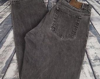 VTG Calvin Klein Men's Jeans Black Gray Relaxed Tapered Denim Sz. 30 Made in USA