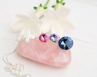 Rose pink blue Swarovski crystal pendant necklace Sterling Silver Swarovski jewellery Rose denim blue wedding bridesmaids necklace 3 Rivoli