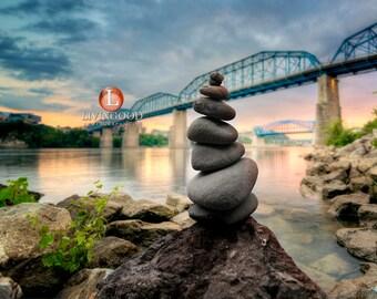Chattanooga Landscape Photography - Walnut Street Bridge & Market Street Bridge in Chattanooga Tennessee.