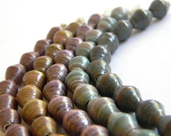 Paper Bead Jewelry Supplies - Paper Beads - Hand painted - Lot of 50 - #1446