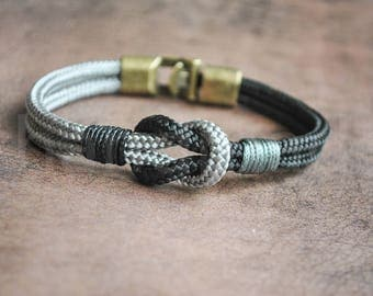 Sailor knot Nautical bracelet | mens bracelet | black gray paracord bracelet | sailor bracelet | nautische armband | pulsera hombre