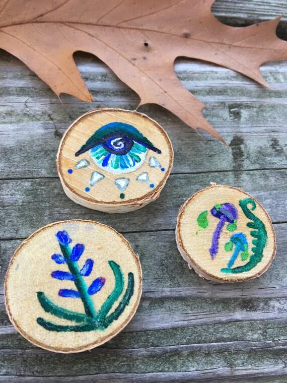 Original Art Oddity Magic Tokens Hand Painted Wood Third Eye Lavender Mushroom Art Home Decor Boho Decor Woodland Forest Fairy Holiday Gift