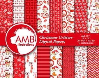 Christmas papers, Forest Christmas digital papers, Red and white Christmas paper, Christmas Paper Pack, AMB-1511