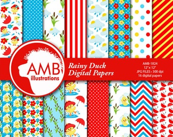 Rainy Days Digital Papers, Duck Papers, Rubber Duck Papers, Red Umbrella Papers, Cute Duck Papers, Spring Papers, Commercial Use, AMB-1824
