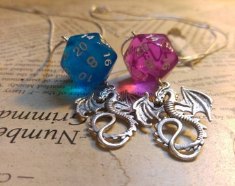 Critial Hit Dungeons and Dragons D20 dice necklace with large silver dragon charm