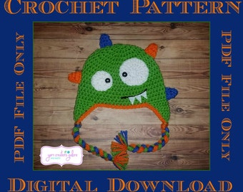 Monster Hat Crochet Pattern *** PDF FILE ONLY
