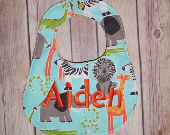 Zoo Print- Boutique Bib and Burp Cloth set -Personalized