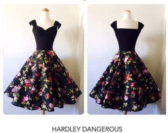 Pin Up Dress Black Floral Dress Sun Dress Rockabilly Dress Vintage Summer Dress 1950s Dress Retro Dress Swing Dress Bridesmaid Dress