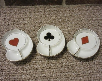 Midcentury Ceramic Ashtrays -Set of 3 -Vintage Card Suit Ashtrays -Heart, Spade, Diamond -White Ceramic with Gold Trim -Made in Japan -Homco