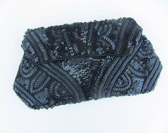 Vintage 30's sequined black purse art deco Hollywood glamour hand held strap