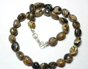 Peruvian Stromatolite Necklace - Fossil Necklace - Nugget necklace - Fossil Nuggets - 17.7 inch