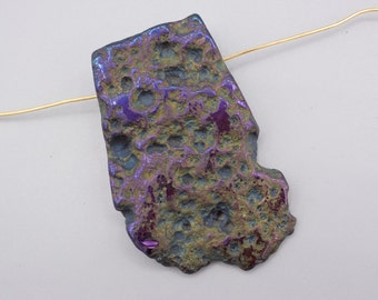 Rainbow Titanium Quartz Pendant -  focal Bead - focal Pendant - Raw Crystal Quartz- 49x31mm - 1 Bead (4)