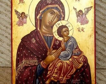 ICON.hand painted ICON.mother and child.greek art.byzantine icon.orthodox icon.holly Virgin Mary.christian icon.religious icon