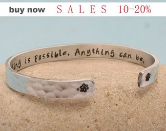 Custom Motivation Bracelet Anything is Possible Anything can Be Inspire Think Positive  Hammered Cuff Bracelet Personalized  Hand Stamped