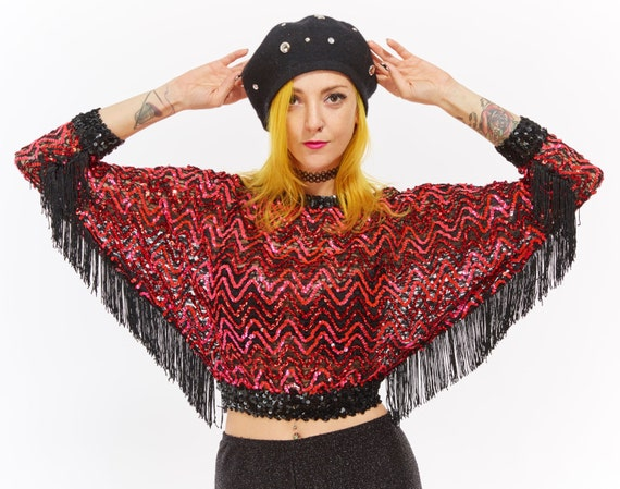 Vtg 80s SEQUIN Crop Top DISCO Batwing Dolman Sleeve FRINGE Blouse Swing Club Kid Raver Psychedelic Squiggle Rocker xs Holiday New Years Eve