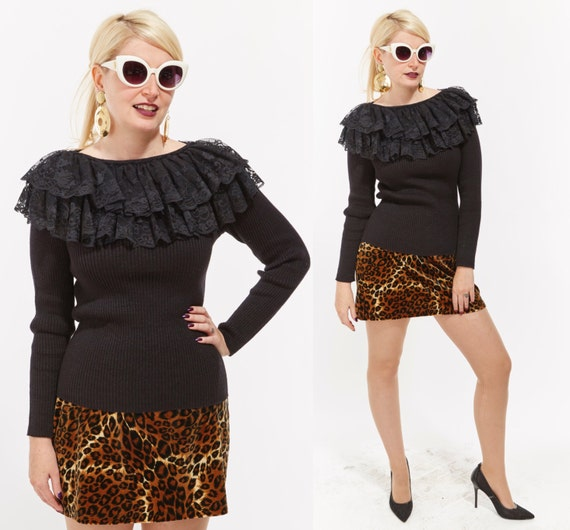 Vtg 80s Bonnie Boerer Sweater Top Knit jumper Tunic LACE RUFFLES Avant Garde Retro Kitsch Trophy Club Kid New Wave Goth Avant Garde Bodycon
