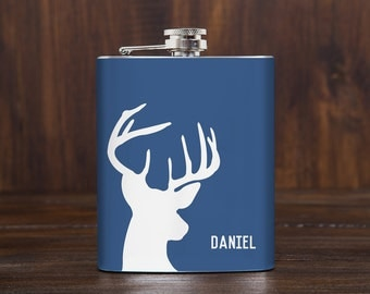 Personalized hip flask for men / deer hip flask / groomsmen gift idea / hunting gifts for him / fishing gifts / whiskey flask / 7 oz