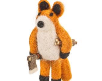Lumberjack Fox- Felt animals - Needle felted Animal - Needle felt - Wool felt - Woodland decorations -Christmas-Merino wool-Ethical-Handmade