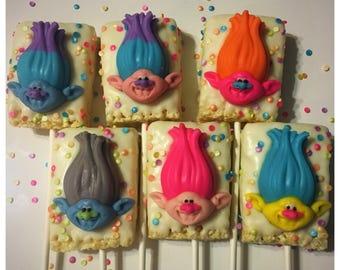 Troll themed chocolate rice keispie treat pop, troll favors