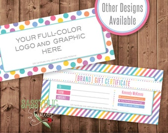 "Gift Certificate Personalized with Your Information | 8.27"" X 3.74"" 