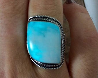 Glowing Asymmetrical moonstone ring sterling silver power ring