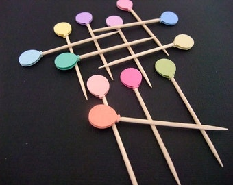Cupcake Topper, Birthday Party Toothpicks, Mini Balloons , Food Pick,  Party Decoration, (Set of 24)