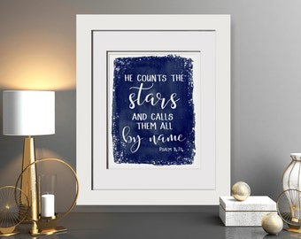 He Counts The Stars And Calls Them By Name|Psalm 147:4|Bible Verse Print|Christian Wall Art For Nursery|Christian Printable|Watercolor Print
