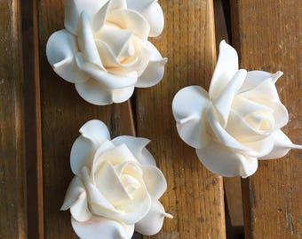 100pcs  Blush Wedding Flowers Foam Rose Heads Beige For Kissing Balls Pomander Corsage Flowers