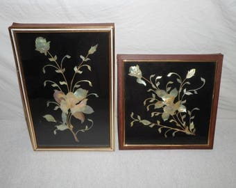 Opaque Shell 3D Shadow Box Art Picture Iridescent Oriental Flower Wood Frame Wall Art Vintage Bathroom lot of 2