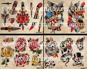 Traditional tattoo art flash