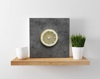 lemon // food photography print // canvas print // kitchen wall art // dining room wall art // rustic wall art // citrus fruit