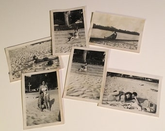 Group of 6 snapshots at the beach - 1940's