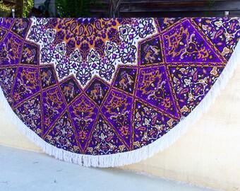 Mandala Tapestry Roundie India Star Wall Hanging Boho Round Hippie Gypsy Wedding Birthday yoga Blanket Purple Festival Glamping Tablecloth