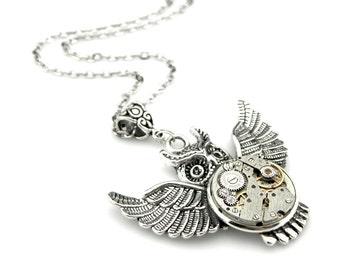 Steampunk Owl Necklace - Clockpunk Halloween - Edwardian Owl pendant - Halloween Gift Idea