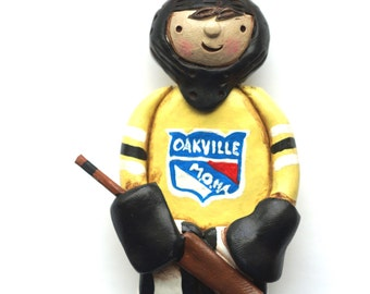 Custom Boy or Girl Hockey Goalie Christmas Ornament Christmas folk art ornament in polymer clay