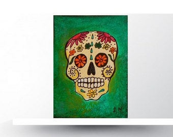 Day of the Dead. ORIGINAL ACEO Card.Painting. Skull. Miniature Art ACEO. Artist Trading Card