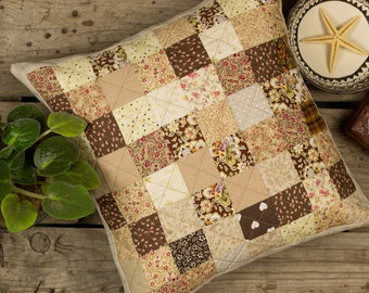 "patchwork pillow quilted pillow cover brown home decor warm gift rustic size 16""x16"""