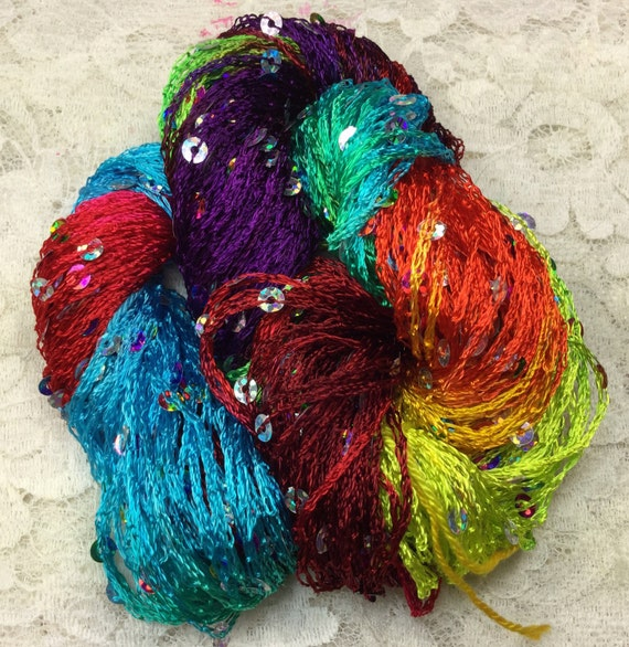 Hand dyed sequins 75 yds rainbow scarf knitting yarn trim