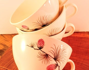 Set of 4 Canonsburg China Wild Clover Coffee or Tea Cups with Pink & Black Flowers. Mid Century, Cottage, Farmhouse Chic Kitchen Decor.