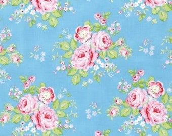 Tanya Whelan Rambling Rose Fabric for Free Spirit Shabby chic floral fabric, blue floral fabric blue fabric with roses blue shabby chic