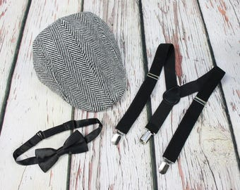 Boys hat suspender bow tie, Ring Bearer, Black Tie, Wedding set - Black, Grey Tweed, Newsboy cap - Fits Boys 4-7 yrs