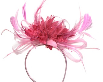 Baby Pink and Fuchsia Hot Pink Fascinator on Headband Alice Band UK Wedding Ascot Races Derby