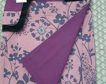 Sale-Free Size Reversible  Wrap Knee Length Wrap Skirt PURPLE CANVAS cotton and FLOWER cordrouy Print