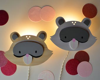 Children and nursery lamp raccoon