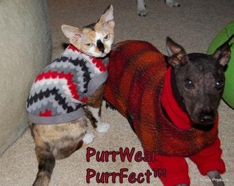 Sample Sale - Sphynx Cat Clothing - Fleece SlipOn/SlipOff Sweater Small