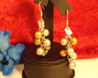 "Sterling Silver and Brass Beads Dangle Earrings for Pierced Ears - 2 1/4"" Long"