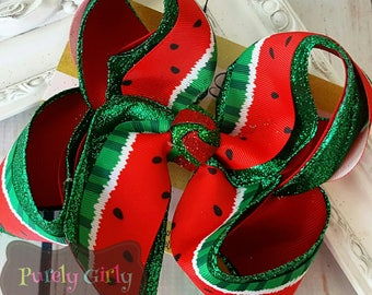 Watermelon Hairbow Large Watermelon Bow Exlarge Glitter Red Green Hairbow