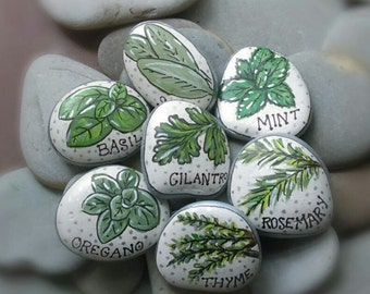 Herb Garden Markers, Painted Rocks Set of 7