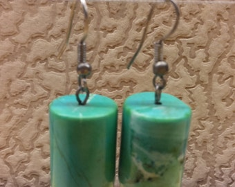 Vintage Earrings Green Martix Chrysocolla Stone Women Silver Plated Excellent
